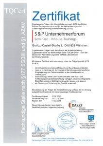 Zertifikat AZAV Deutsch