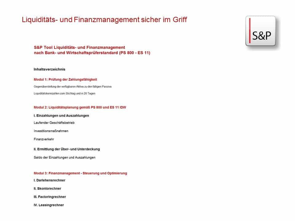 Seminar Cash Flow & Investition sicher im Griff - S&P Liquditätsmanagement
