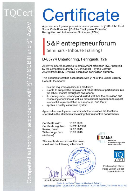 Zertifizierter Seminaranbieter Seminarqualitaet