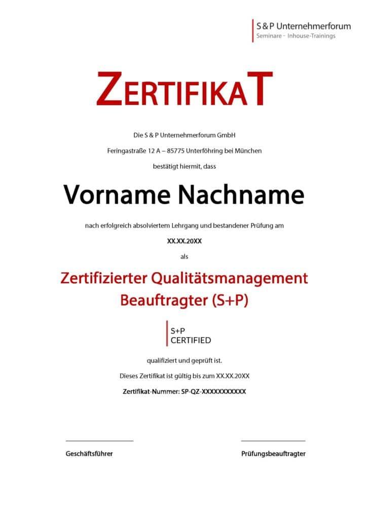 Zertifikat Lehrgang Zertifizierter Qualitätsmanagement Beauftragter