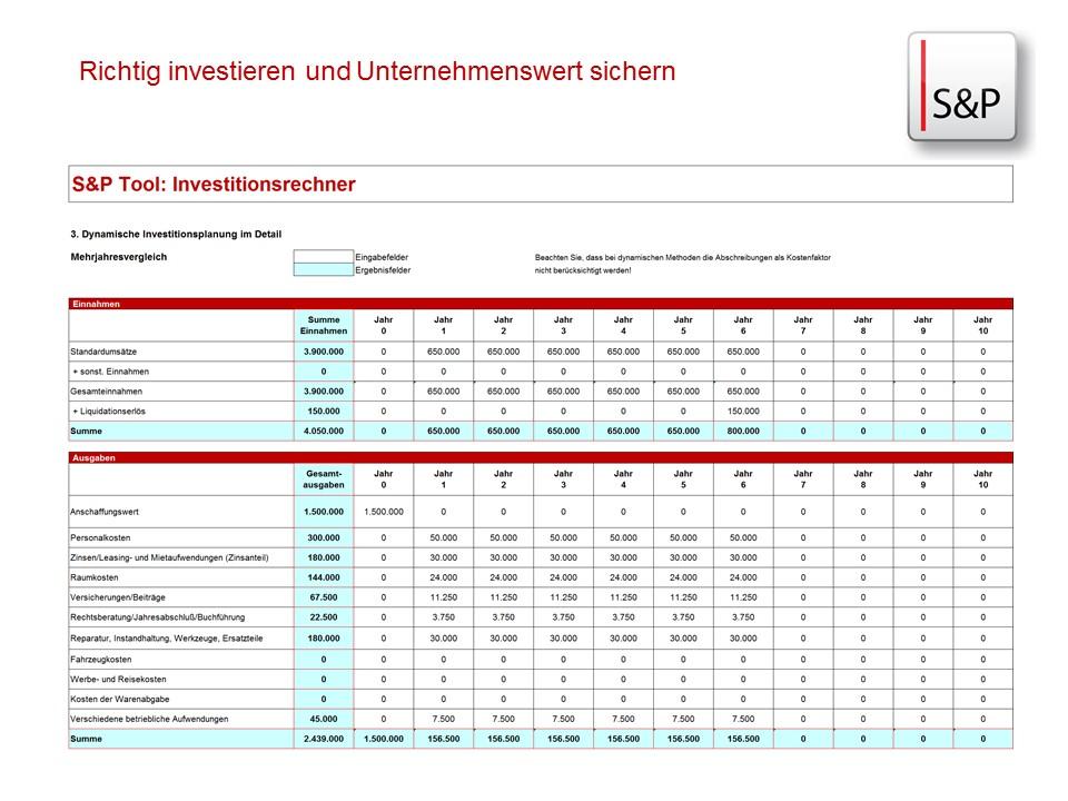 Seminar Cash Flow & Investition sicher im Griff - S&P Investitionsrechner